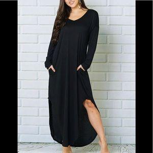 Dresses & Skirts - NEW V NECK CURVED HEM SLIT MAXI DRESS